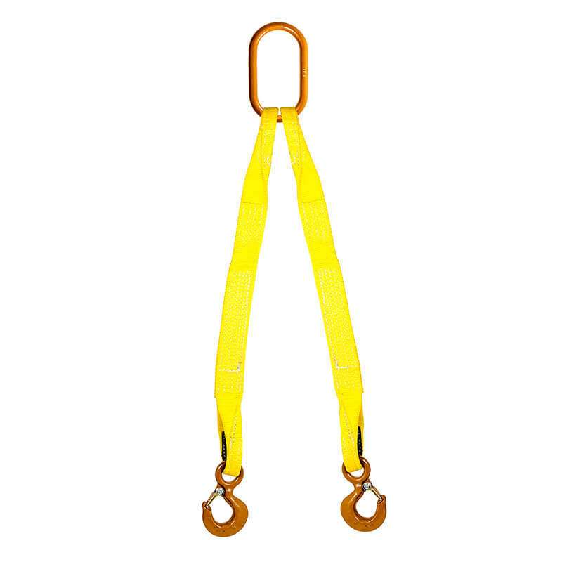Double Leg Nylon Bridle Sling with Hook - Sling Width - 1 inch - 1 Ply -  Length 5 ft