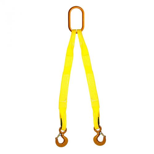 EE2-802 Hook with Safety Latch HSI Two Ply Two Leg 2 x 3 Oblong-to-Hook Bridle Nylon Sling 1 Trade Size Alloy Master Link Vertical Capacity 12,000 Lb Heavy Duty Rigging Strap